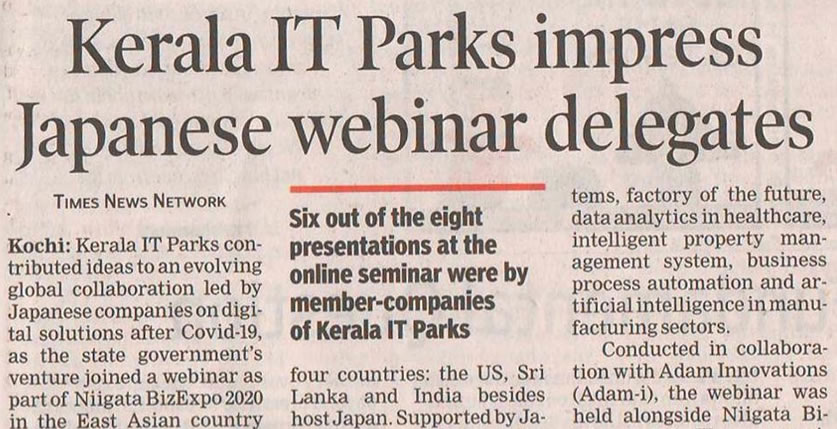Niigata BizExpo 2020 webinar series has been cited in the Time of India newspaper today.