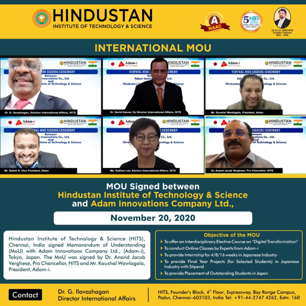 Adam-i signed MOU with Hindustan Institute of Technology and Science